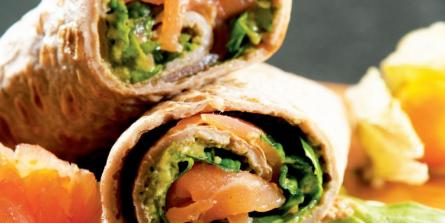 Wraps de sarrasin saumon et mousse d'avocat