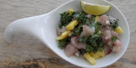 Salade de poisson cru à l'ananas et chou kalé