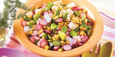 Salade complète de fèves et radis roses